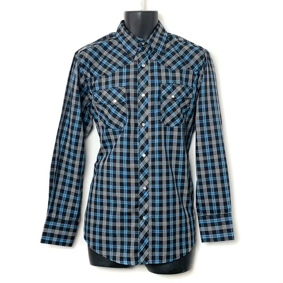 WRANGLER Western Shirts Vtg Blue Plaid Shirt